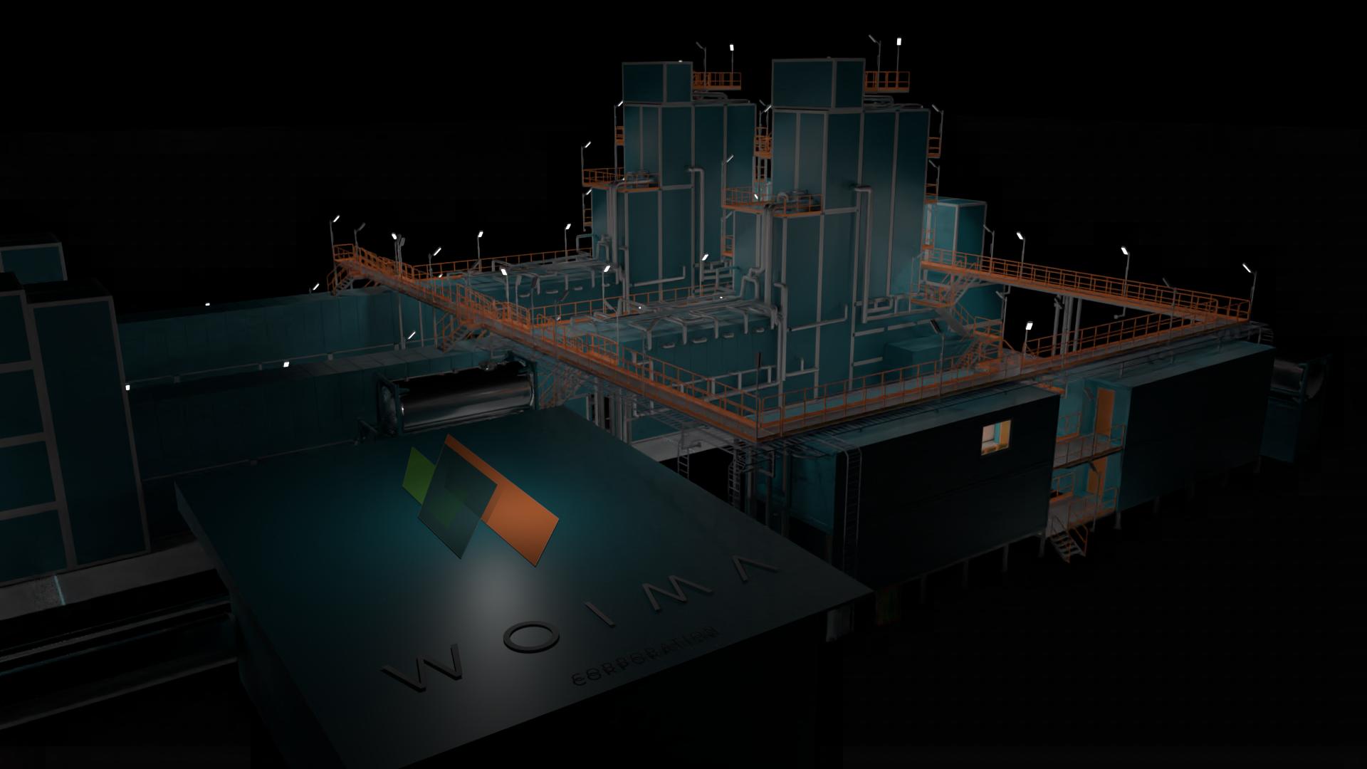 Boilers at night with Logo, WOIMA Corporation